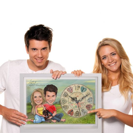 Couple with Dog - Personalized Caricature Canvas wall Clock