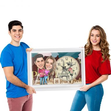 Holding Tight - Caricature Canvas Clock