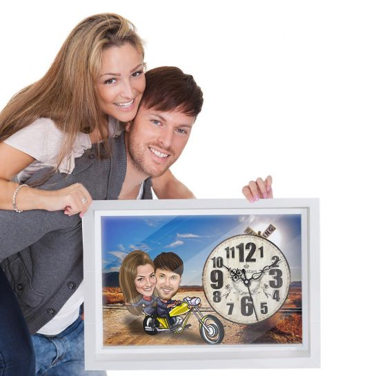 caricature canvas clock for husband gift