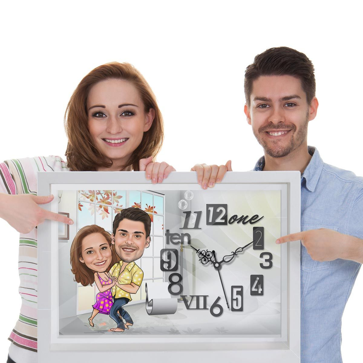 caricature wall clock - dancing couple