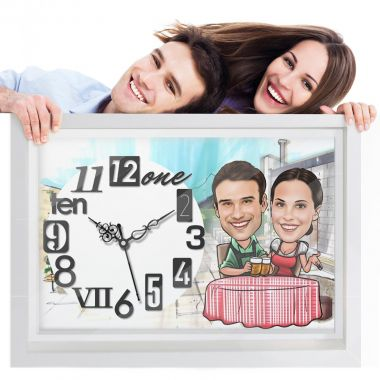 Dinner Date - Caricature Photo Wall Clock