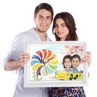 Couple in Car - Caricature Canvas Clock