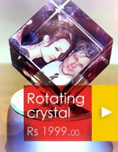 Automatic Rotating Photo Crystal - Personalized