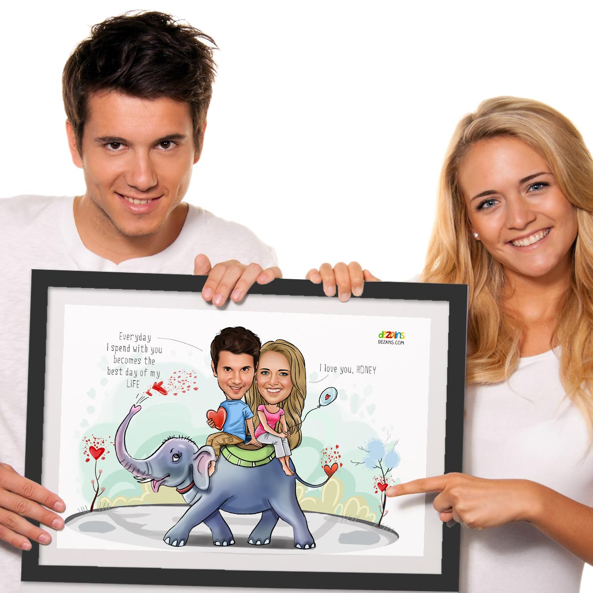couple-on-elephant-caricature-frame-by-dezains-2
