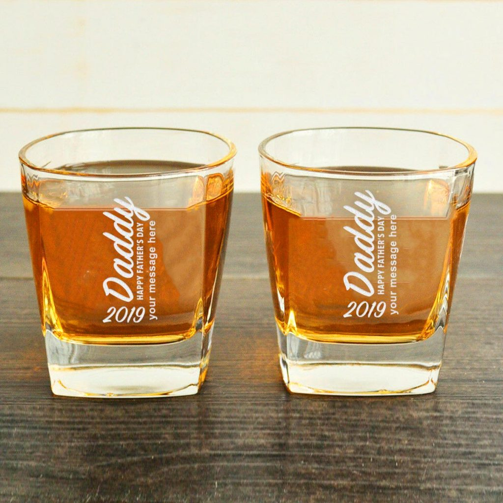 Daddy whiskey glasses with customized text
