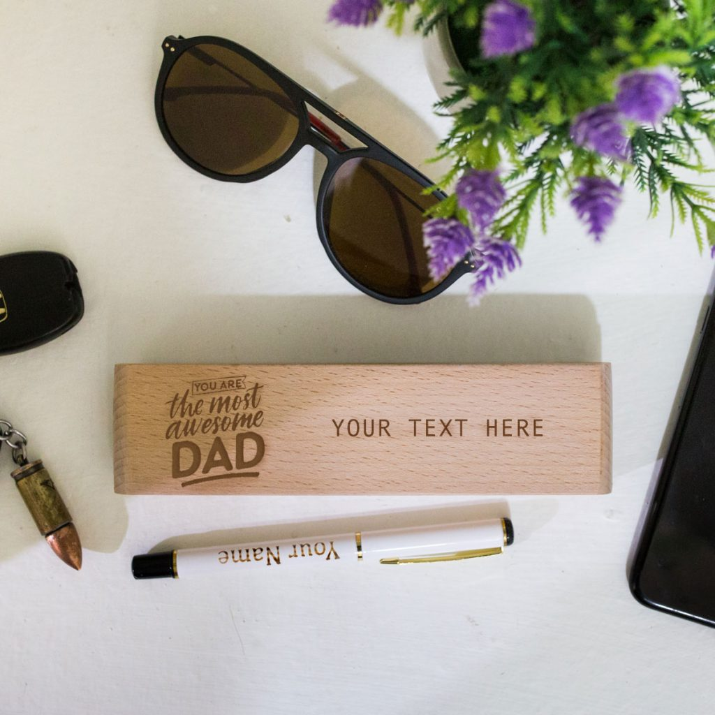 Personalised metallic pen and wooden box for dad as father's day gift