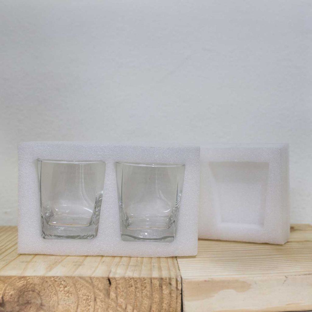 Boxes for Whiskey Glasses - foam cutout packing